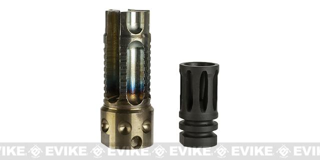 G&P 3 Prong Aluminum Airsoft Flash Hider - Burnt Blue Finish - 14mm Negative