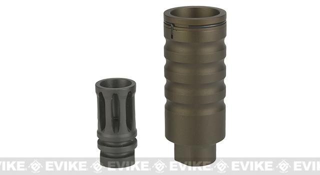 G&P Go Loud Flash Hider / Amplifier for Airsoft AEGs - Sand (14mm Positive)