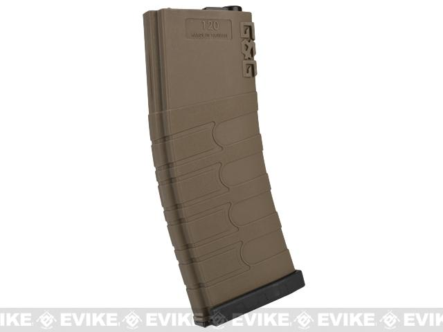 G&G 120rd Polymer Mid-cap Magazine for M4 / M16 Series Airsoft AEG Rifles - Desert w/ Black Baseplate