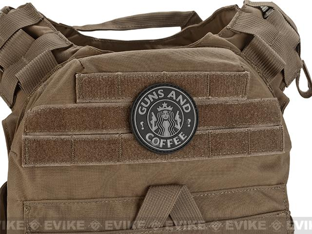 TruSpec / 5ive Star Gear  Guns and Coffee Morale PVC Hook and Loop Patch - Black