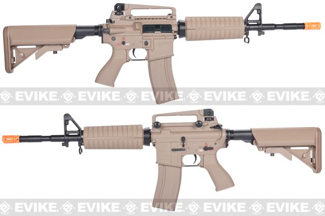G&G Full Metal M4 Carbine Airsoft AEG Rifle w/ Crane Stock - Desert (Package: Add 9.6 Butterfly Battery + Smart Charger)