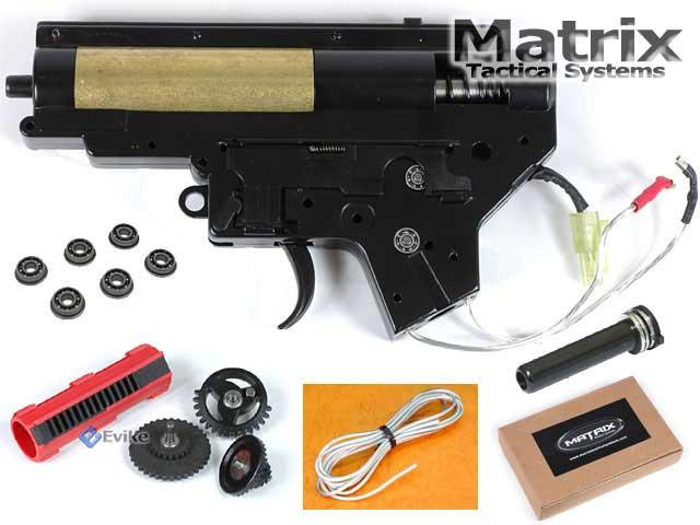 Matrix Lipoly Ready 8mm Complete Gearebox Set for M4 / M16 series Airsoft AEG (Tornado Speed) - Wiring to the Back