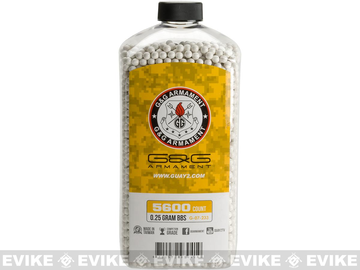 G&G Airsoft  Precision 6mm Airsoft BBs - 0.25g White (5600 rounds)