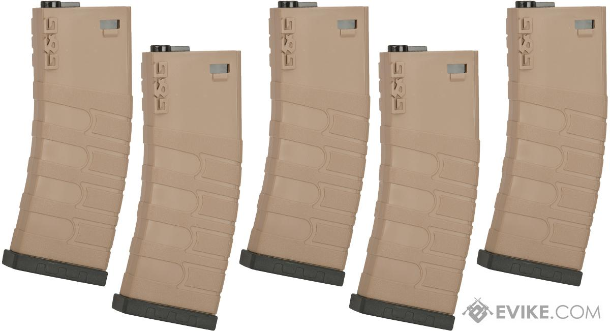 G&G 120rd Polymer Mid-cap Magazine for M4 / M16 Series Airsoft AEG Rifles - Set of 5 (Color: Desert / Black Base)