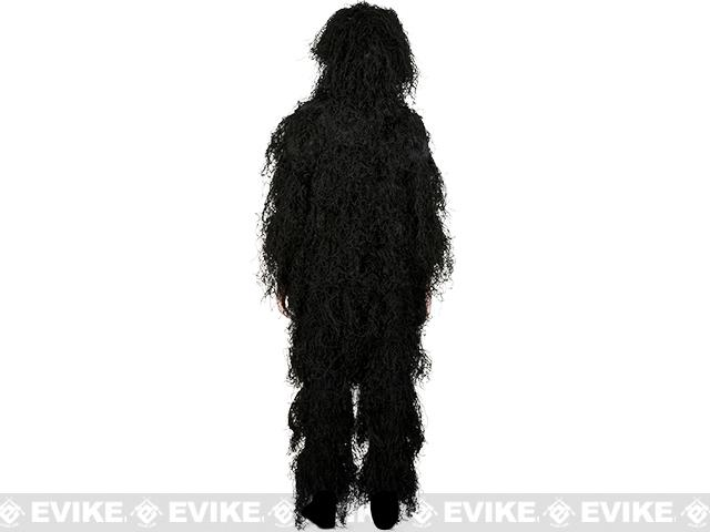 Adventure Gear Full Body 3-Piece Concealment Ghillie Suit Set for Children - Black  (Size: Small/Medium)