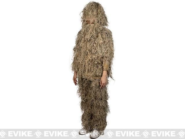 Adventure Gear Full Body 3-Piece Concealment Ghillie Suit Set for Children - Desert (Size: Large/X-Large)