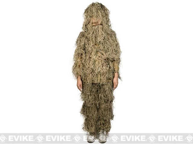 Adventure Gear Full Body 3-Piece Concealment Ghillie Suit Set for Children - Desert (Size: Small/Medium)