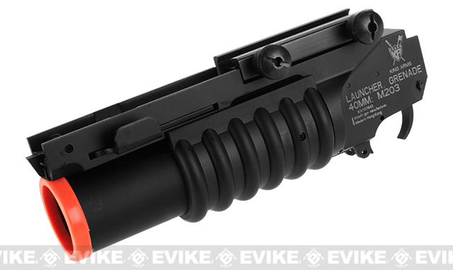 Evike.com Compact CNC M203 Mini 40mm Airsoft Grenade Launcher by King Arms