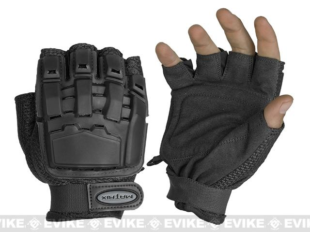 Matrix Half Finger Tactical Gloves - Black (Size: MD/LG)