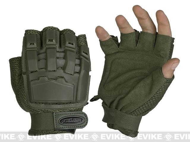 Matrix Half Finger Tactical Gloves - OD Green (Size: XS/S)