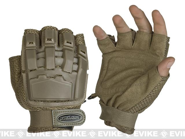 Matrix Half Finger Tactical Gloves - Tan (Size: XL/XXL)