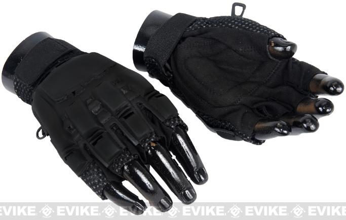 Matrix Terminator CQB Half Finger Black Combat Tactical Gloves (S)