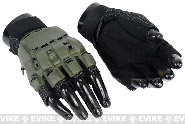 Matrix Terminator CQB Half Finger OD Combat Tactical Gloves - S/XS