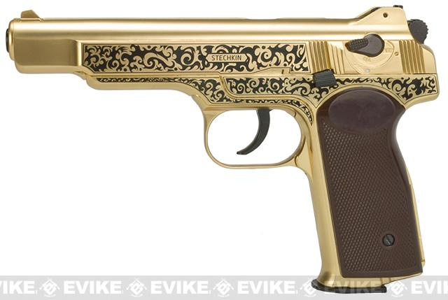 Gletcher Limited Edition Stechkin with Wood Presenation Box - Gold (.177 cal Airgun NOT AIRSOFT)