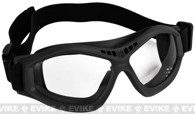 Military Style Compact Rubber Frame Eye Goggles - Black