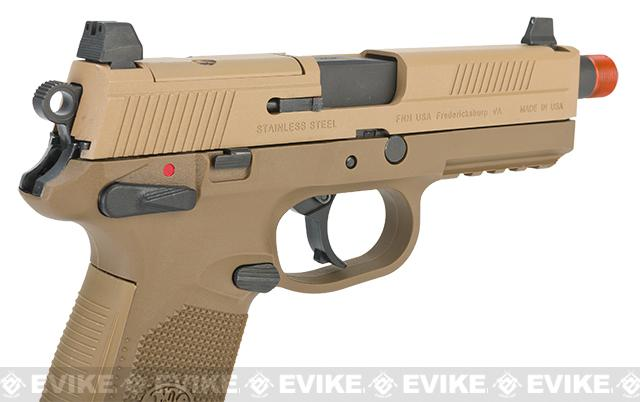 FN Herstal FNX-45 Tactical Airsoft Gas Blowback Pistol by Cybergun - Dark Earth (Package: Add Extra Magazine)