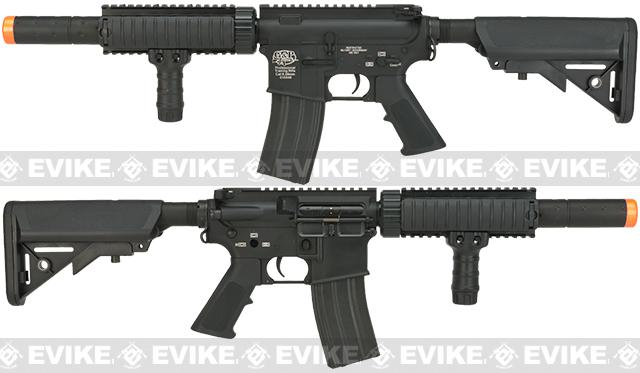 Pre-Order ETA April 2017 Evike Custom Class I G&P M4 CQB-R Airsoft AEG Rifle w/ Crane Stock - Black (Package: Add Battery + Charger)