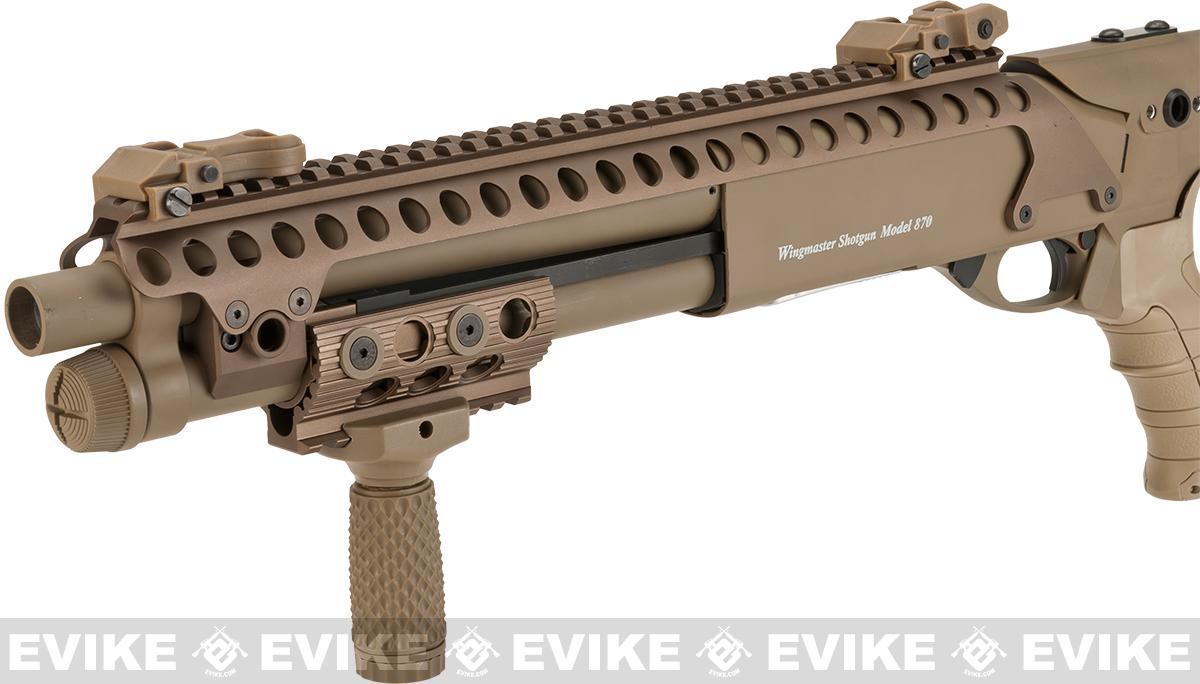 G&P M870 P.T.E. High Power Airsoft Tactical RIS Entry Shotgun - Dark Earth