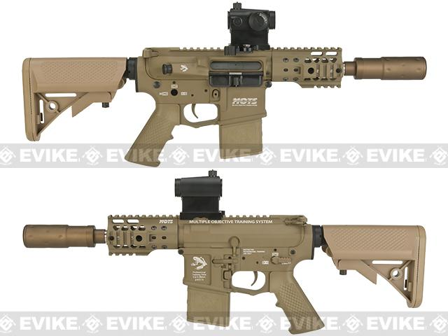 G&P Golf Ball Texture M4 PDW Airsoft AEG Rifle - Dark Earth (Package: Add Battery + Charger)