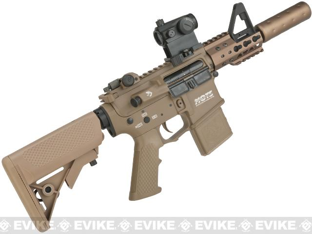 G&P Golf Ball Texture Keymod M4 PDW Airsoft AEG Rifle - Dark Earth (Package: Add Battery + Charger)