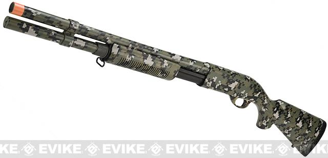 z G&P M870 P.T.E. High Power Airsoft Shotgun - Sheriff Edition (Water Transfer Digital Woodland)