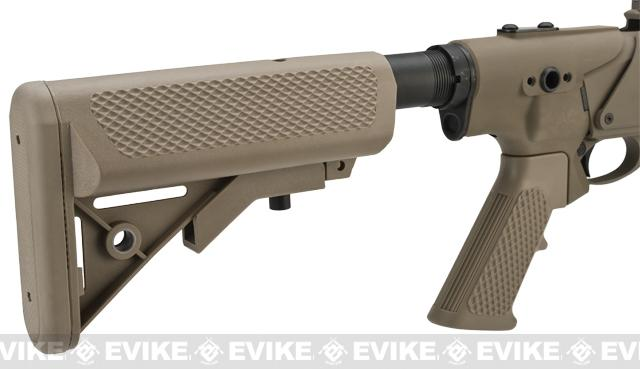 G&P M870 P.T.E. High Power Airsoft Shotgun - Breacher Railed w/ Medium Barrel (Dark Earth)