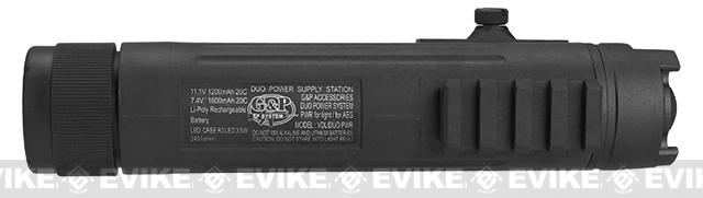 G&P AEG 7.4v 1600mAh Powerbank with Integrated Flashlight and 20mm Accessory Mount for RIS - Black