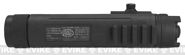 G&P AEG 11.1v 1200mAh Powerbank with Integrated Flashlight and 20mm Accessory Mount for RIS - Black