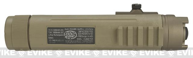 G&P AEG 11.1v 1200mAh Powerbank with Integrated Flashlight and 20mm Accessory Mount for RIS - Sand