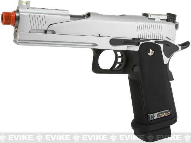WE-USA NG3 Full Metal Silver Dragon X-Celerator Airsoft Gas Blowback Pistol w/ Split Competition Slide - Silver