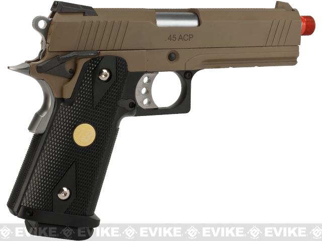 WE-USA NG3 4.3 Inch 2011 HI-CAPA Railed Frame Heavy Weight Airsoft Gas Blowback Pistol - Tan