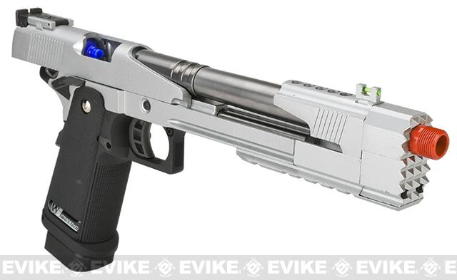 WE-Tech 7 Xcelerator Dragon Full Metal Hi-CAPA Airsoft Gas Blowback w/ Ext. barrel - Silver