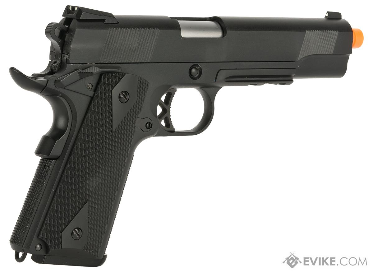 WE-USA NG3 Full Metal 1911 KB Custom Airsoft Gas Blowback Pistol with Railed Frame / Threaded Barrel - Black