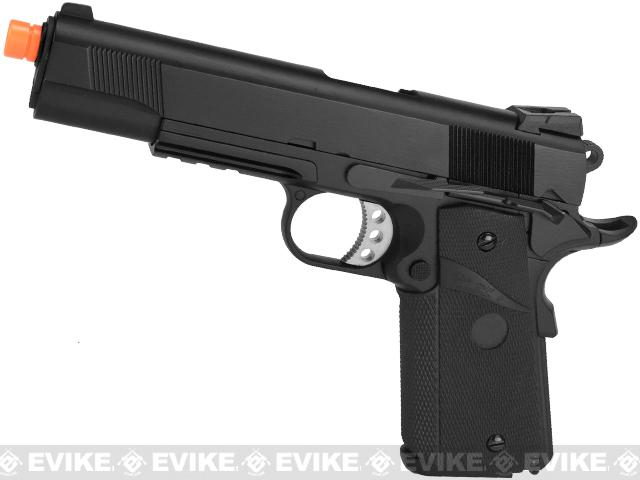 WE-USA NG3 Metal 1911 MEU Railed Frame Heavy Weight Airsoft Gas Blowback Pistol - Black