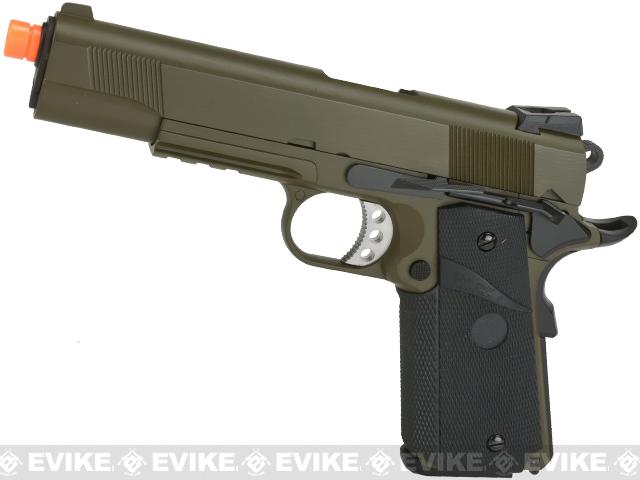 WE-USA NG3 Metal 1911 MEU Railed Frame Heavy Weight Airsoft Gas Blowback Pistol - OD Green