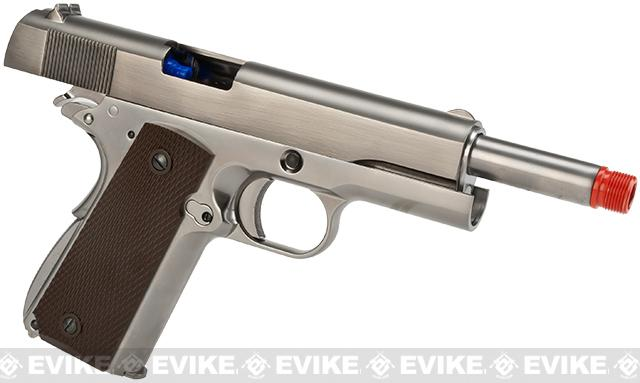 WE-Tech Full Metal 1911 Gas Blowback Airsoft Pistol w/ Threaded Barrel - Silver