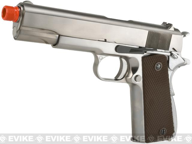 Pre-Order ETA September 2016 WE-Tech Full Metal 1911 Gas Blowback Airsoft Pistol w/ Threaded Barrel - Silver