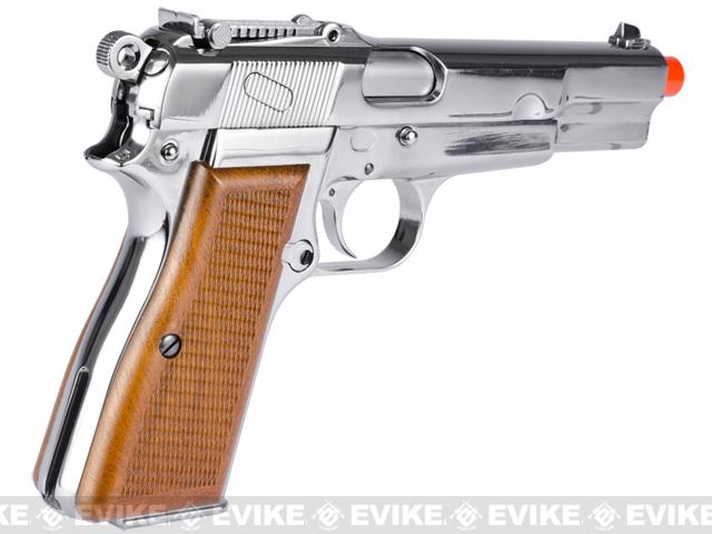 WE WWII Full Metal Hi-Power Gas Blowback Airsoft Gun - Chrome Nickle Plated