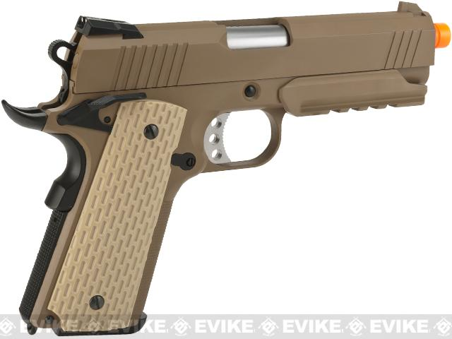 (CYBER WEEK DEAL!) WE-Tech Full Metal 1911 Desert Warrior Socom 4.3 Airsoft Gas Blowback Pistol - Tan (Package: Gun Only)