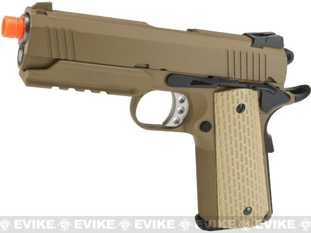 Pre-Order ETA September 2017 WE-Tech Full Metal 1911 Desert Warrior Socom 4.3 Airsoft Gas Blowback Pistol - Tan (Package: Gun Only)