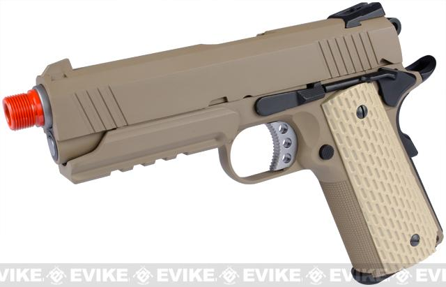 WE Full Metal Desert Warrior Socom 4.3 FDE Airsoft Gas Blowback Pistol (Tan)