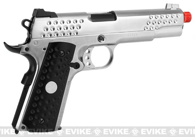 WE-Tech Full Metal Custom 1911 Knighthawk Airsoft Gas Blowback Pistol (Color: Silver)