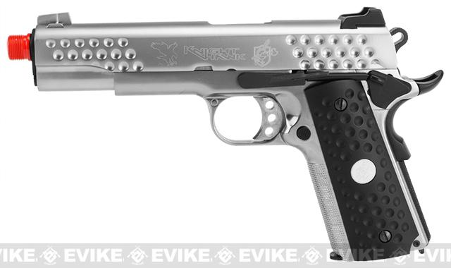 WE-USA NG3 Full Metal Custom 1911 Knighthawk Airsoft Gas Blowback Pistol - Silver