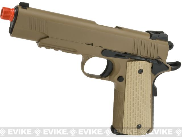 WE-USA NG3 Metal 1911 Desert Warrior Railed Frame Heavy Weight Airsoft Gas Blowback Pistol