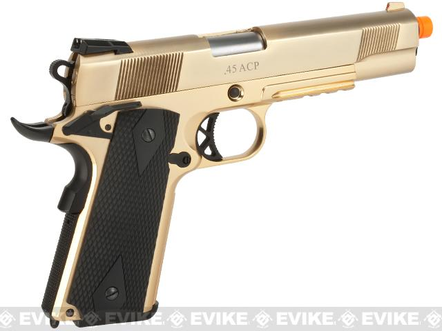 WE-USA Metal 1911 Railed Frame Heavy Weight Airsoft Gas Blowback Pistol - Gold Plated