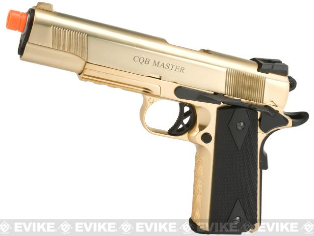 Pre-Order ETA May 2017 WE-USA Metal 1911 Railed Frame Heavy Weight Airsoft Gas Blowback Pistol - Gold Plated