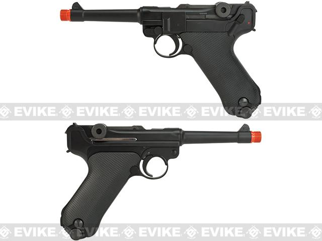 Pre-Order ETA November 2016 WE WWII Full Size / Metal Luger Airsoft Gas Blowback - 4 Barrel / Black