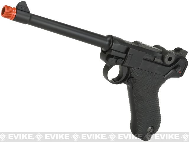 WE WWII Full Size / Metal Luger Airsoft Gas Blowback Pistol (6 Barrel / Black)