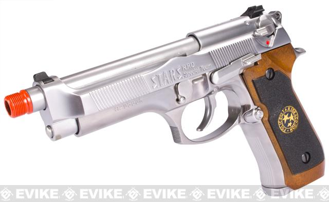 WE Custom Samurai Edge Biohazard M9 Limited Edition Airsoft Gas Blowback - Nickel Plated Chrome