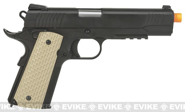 WE-USA Full Metal 1911 Desert Warrior Railed Frame / Threaded tip Airsoft Gas Blowback Pistol
